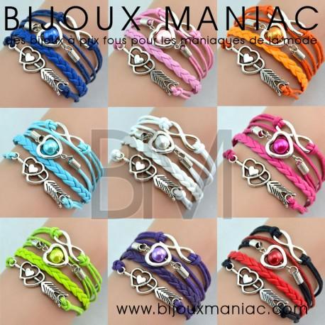 Bracelet multirang Coeur Infini