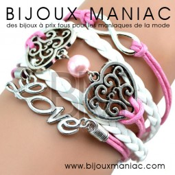Bracelet multirang Love 2 Coeurs