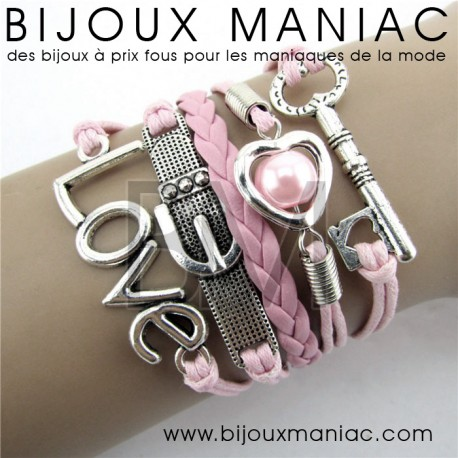Bracelet multirang Clef Love