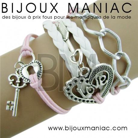 Bracelet multirang Clef Love Cadenas