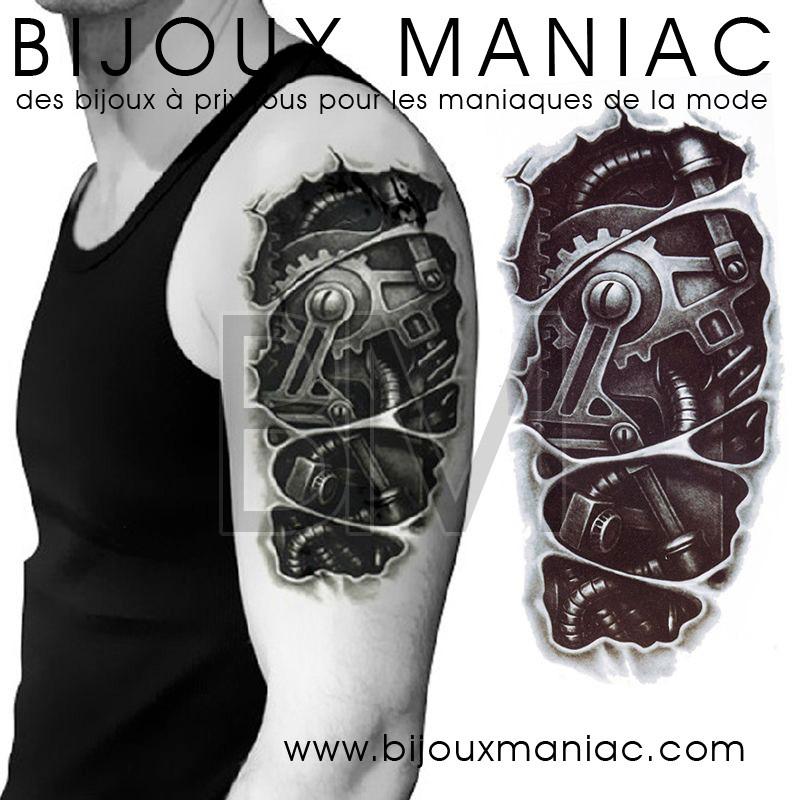 un superbe tatouage effet trompe l 39 oeil robot m canisme. Black Bedroom Furniture Sets. Home Design Ideas