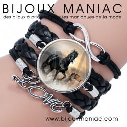 Bracelet multirang Cheval Noir