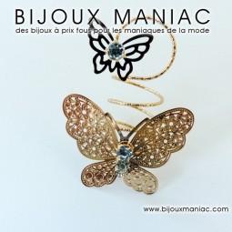 Bague papillon dorée