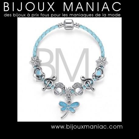 Bracelet Charms Papillon bleu