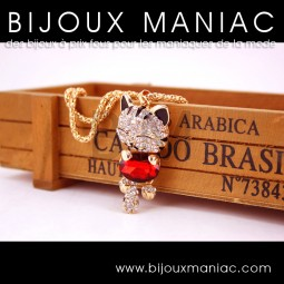 Collier. Chat Rubis