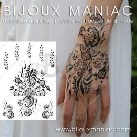 Tattoo floral noir