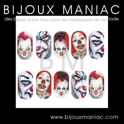Stickers pour ongles Clown Horreur