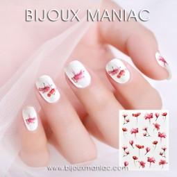 Déco ongle fleurs et flamants roses