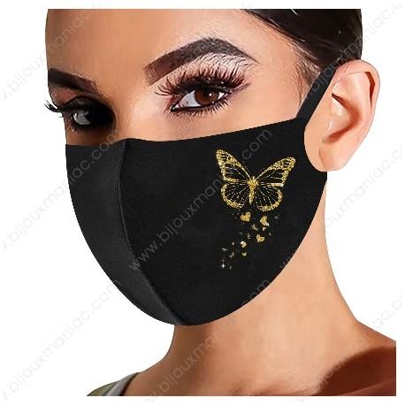 Masque fantaisie papillon or