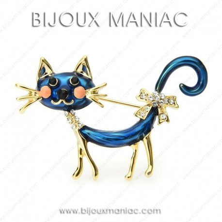 Broche chat bleu