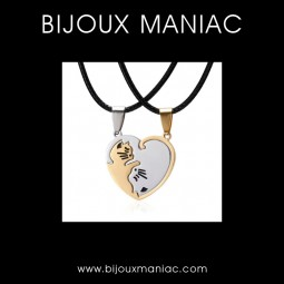 Collier double chats coeur